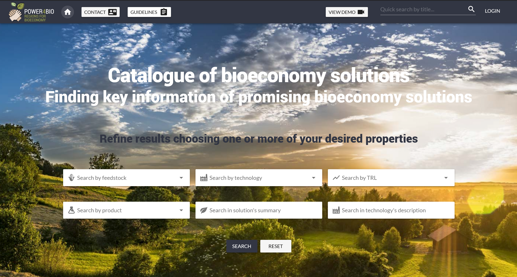 Catalogue of bio-based solutions